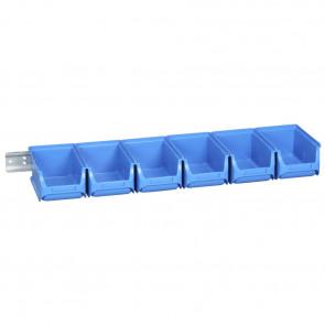 Allit 457062 Sada 6 zásobníků s nástěnnou lištou Sada ProfiPlus 2/7, modrá
