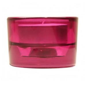 Svícen sklo 57x83 tmavě růžová na mal./velkou čajovou svíčku