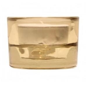 Svícen sklo 57x83 béžový na mal./velkou čajovou svíčku