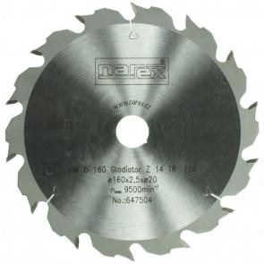 NAREX 00647504 pilový kotouč GLADIATOR ø160x2,2xø20;14 trapézových zubů z tvrdokovu