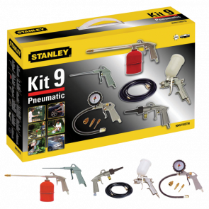 9 ks - multi kit box Dlouhá vyfukovací pistole - Gravimetrická stříkací pistole 1/2 L - Sprejová umývací pistole - Hustící pistole - Vzduchové/Vodní umývání - Sada 3 hustících nástavců - Hadice (5 m)