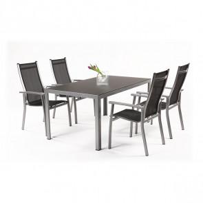 Garland Aurelia 4+ sestava nábytku z hliníku (1x stůl Frankie + 4x židle Adina)